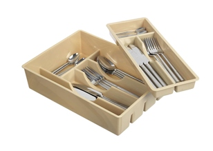 Double silverware tray with mobile tray.