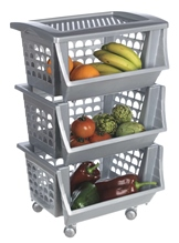 Vegetable rack with 3 baskets and tray.